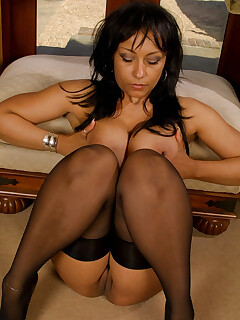 beautiful nude women in stockings and corsets